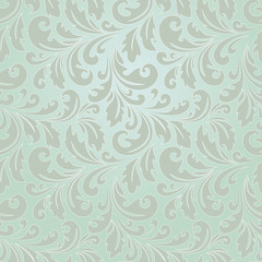 Seamless abstract floral pattern. Modern graphic. Green background. Geometric leaf ornament