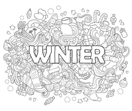 Doodle vector illustration, abstract background, texture, pattern, wallpaper, Collection of New Year Christmas elements and objects set. Adult anti stress coloring book page