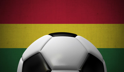 Soccer football against a Bolivia flag background. 3D Rendering