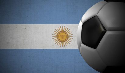 Soccer football against a Argentina flag background. 3D Rendering