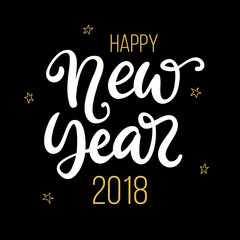 Happy New Year 2018 phrase. Christmas ink lettering
