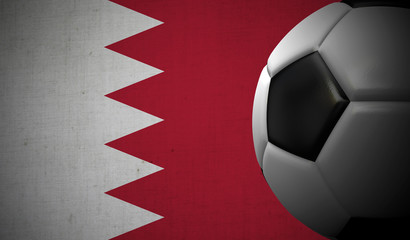 Soccer football against a Bahrain flag background. 3D Rendering