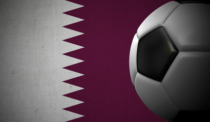 Soccer football against a Qatar flag background. 3D Rendering