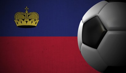 Soccer football against a Liechtenstein flag background. 3D Rendering