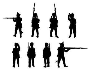 Russian Line infantry. Soldiers silhouettes set