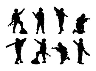 Man-portable air-defense system. Soldiers silhouettes set