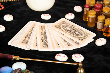 Tarot cards on table