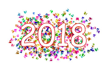 white inscription year 2018 a red circle on  a background with colorful flying sticky notes on a white background