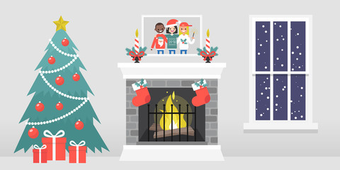 Christmas interior. Decorated fireplace. Candles. Family photo. Xmas tree. Window. Snowflakes. Winter seasonal decor. Flat vector illustration, clip art