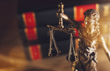 Statue Of Lady Justice in a lawyer office