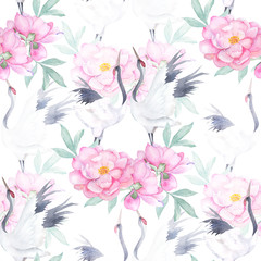 Watercolor seamless pattern with crane and peony. Japanese print. Hand drawn illustration