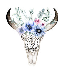Watercolor bull's head with flowers and herbal on white background. Hand drawn isolated illustration. Ornamental skull on white background for wrapping, wallpaper, textile, posters, cards, prints