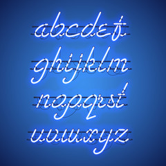Glowing Blue Neon Script Font with lowercase letters from A to Z with wires, tubes, brackets and holders. Shining and glowing neon effect. Vector illustration.