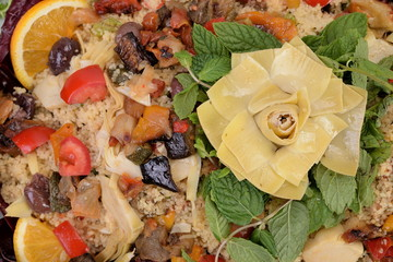 Cold couscous dish with vegetables and vegetables