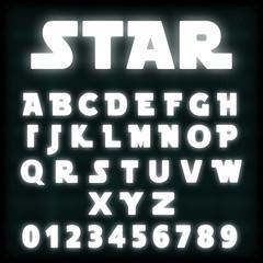 Alphabet font template white neon design