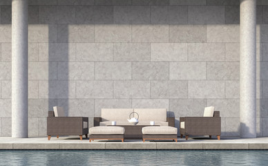 Modern loft style pool terrace 3d rendering image.There are concrete walls grooved in the pattern of brick.furnished with rattan furniture