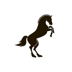 monochrome icon of horse silhouette on white background