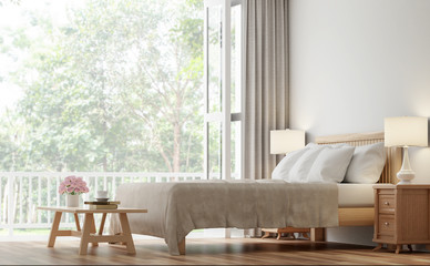 Vintage bedroom 3d rendering image.The Rooms have wooden floors and white walls .There are large open door overlooking to the nature.