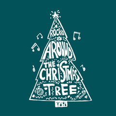 Wall Murals Christmas Singing Christmas tree. Quote from the song. New year lettering