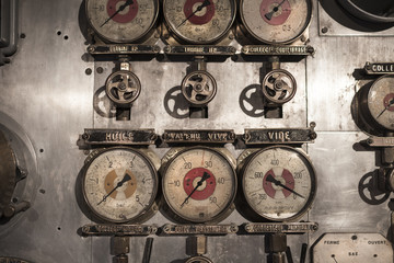 Details of control panel of an old submarine in France