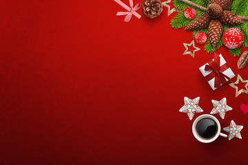 Red background with Christmas decoration on right side with coffee, gift box and cookies, free space for adding text, logo etc...
