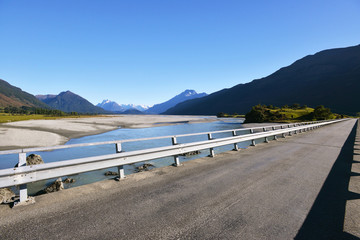 Bridge over Dart river, before it flows to Lake Wakatipu, South Island of New Zealand.