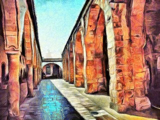 The architecture of ancient monastery, arches and corridors. Stock. Big size pictorial art. Watercolor and oil mixed painting style. Good for printing pictures, design postcard, posters and wallpaper