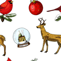 seamless pattern deer and snow globe, red cardinal, birds. Merry Christmas or xmas, New Year. winter holiday decoration. engraved hand drawn in old sketch and vintage style.