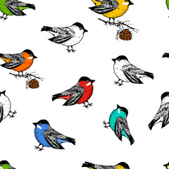 seamless pattern birds and Christmas animals. New Year bird cardinal or tit. winter holidays. engraved hand drawn in old sketch and vintage style for postcards.