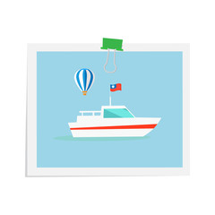 Ship on Isolated Image Attached by Green Binder