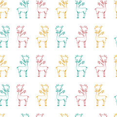 seamless pattern deer and Christmas animals. New Year penguin and bird cardinal or tit in the forest. winter holidays. engraved hand drawn in old sketch and vintage style for postcards.