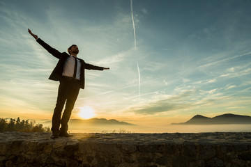 Businessman in elegant suit standing on a wall with his arms spread widely