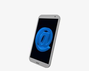 weißes Handy mit @-zeichen, isoliert auf weiß.