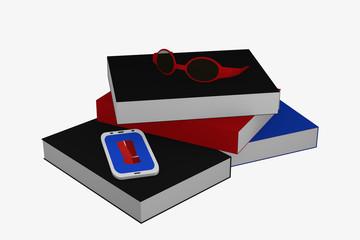 Bücherstapel auf dem ein Handy mit Ausrufezeichen und eine Brille liegt.