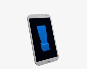 weißes Handy mit Ausrufezeichen, isoliert auf weiß.