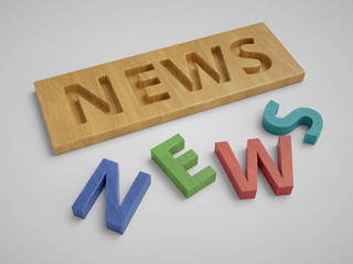 Word news made of wooden block letters on white background.
