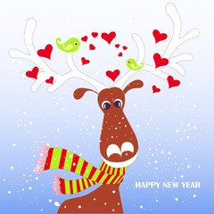 Cartoon fan, cute reindeer in red striped scarf with white horns, green lovebird, hearts on blue, snow, Happy New Year stock vector illustration for typography banner