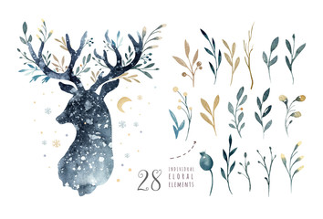 Watercolor closeup portrait of cute deer. Isolated on white background. Hand drawn christmas illustration. Greeting card animal winter design decoration Fotoväggar