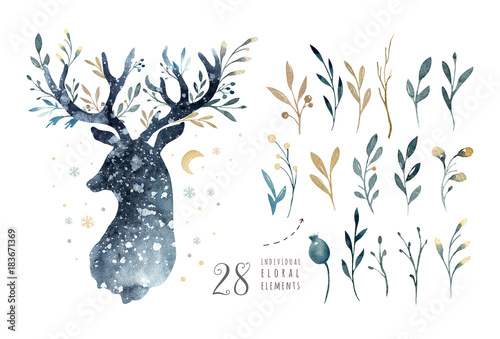 Wall mural Watercolor closeup portrait of cute deer. Isolated on white background. Hand drawn christmas illustration. Greeting card animal winter design decoration