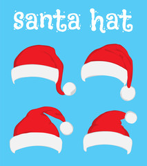 Santa christmas hat vector illustration. Red santa top hat isolated on blue background. Flat vector illustration Santa hat. Red Santa hat isolated on blue.