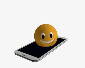 Emoticon kommt aus einem Handy raus.