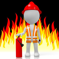 3D fireman with extinguisher, flames in background
