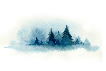 Wall Mural - Watercolor blue color christmas card with christmas tree. Indigo paper texture with winter fir-tree. watercolor paper new year card.