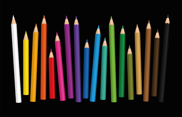 Crayons - loosely arranged colorful set of pencils in different lengths with wood textured tips, upright standing in a row - vector illustration on black background.