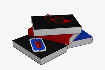 Bücherstapel auf dem ein Handy mit Fragezeichen und eine Brille liegt.