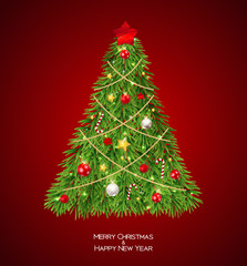 Merry Christmas and New Year Background with Christmas Tree. Vector Illustration