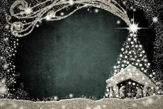 Nativity Scene and Christmas tree card.