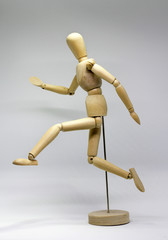 wooden dummy doll run jump
