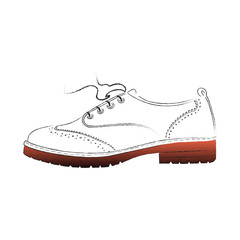 Men's women's oxford shoe icon. Vector outline in retro style shoes. Halftone Fashion Shoe design. Hand drawn, sketch. AI10