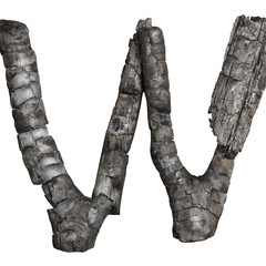 coal letter W on white background, isolated